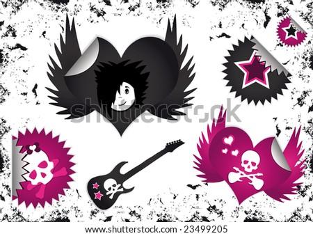 emo love 163 poster picture and wallpaper stock vector : Emo Symbols,