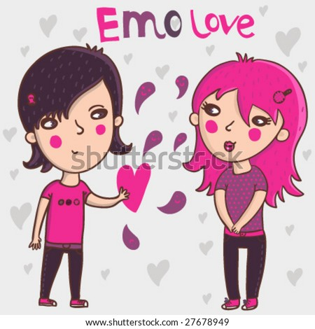 emo cartoons love. Emo Teens In Love - Cartoon