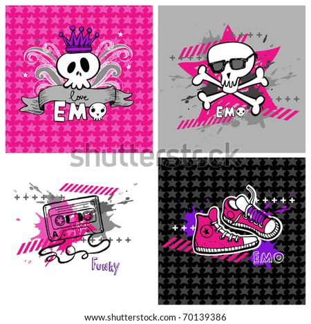 emo vector banners  suitable