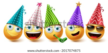 Emoji birthday vector set. Emojis emoticon birthday party icon collection isolated in white background for graphic design elements. Vector illustration