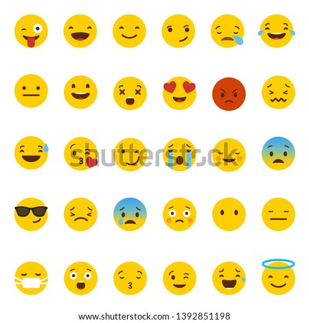 Emoji collection, Set of happy, smile, laughing, joyful, sad, angry and crying faces yellow emoticons