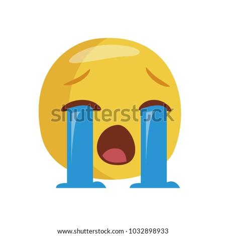 Emoji crying. Isolated Vector Illustration. Flat design