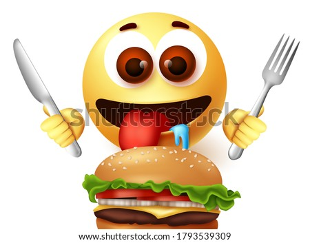 Emoji eating hamburger character vector design. Emoji starving emoticon while holding knife and fork excited to eat yummy burger. Vector illustration   Stock photo ©