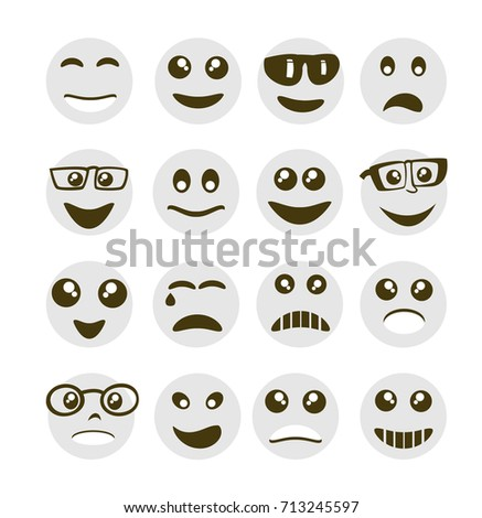 Emoji emoticon expression icons in style circle face symbols graphics pictogram of fun people smile image #713245597