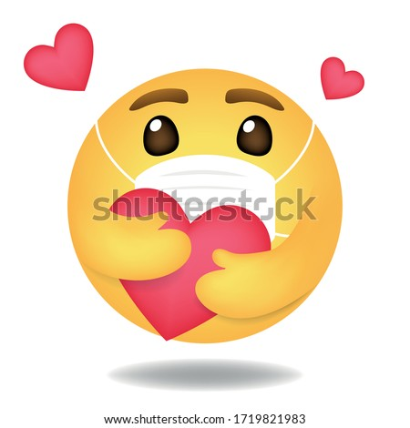 Emoji, Emoticon vector, Round Yellow care face wears mask cartoon hugging heart love design for use in chat, email, massage and comment.