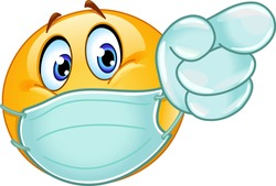 Emoji emoticon with medical mask over mouth and disposable gloves pointing forward
