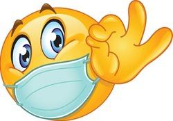 Emoji emoticon with medical mask over mouth showing ok sign
