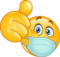 Emoji emoticon with medical mask over mouth showing thumb up
