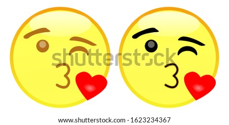 Emoji Face Blowing a Kiss. A yellow face winking with puckered lips blowing a kiss, depicted as a small, red heart. May represent a kiss goodbye or good night and convey feelings of love and affection