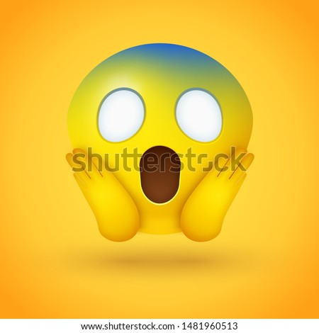 Emoji face screaming in fear with wide white eyes, a long open mouth, hands pressed on cheeks, and a pale blue forehead on yellow background - represents horror, fright, but also shock, awe, disbelief Foto stock ©
