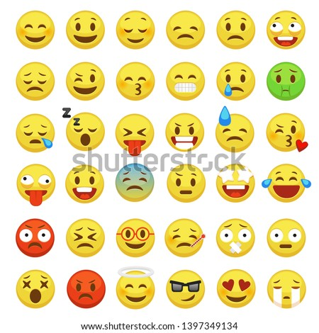 Emoji face set. Character facial yellow sign message people man emotion feelings chat cartoon vector chat icons
