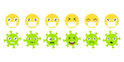 Emoji face set. Icons emoticons in medical masks and emoticons coronavirus. Isolated vector illustration