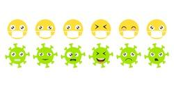 Emoji face set. Icons emoticons in medical masks and emoticons coronavirus. Isolated vector illustration