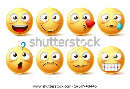 Emoji face vector character set. Emoticon and emoji with different facial expression and emotion like happy, lonely, confused and angry isolated in white background . Vector illustration.