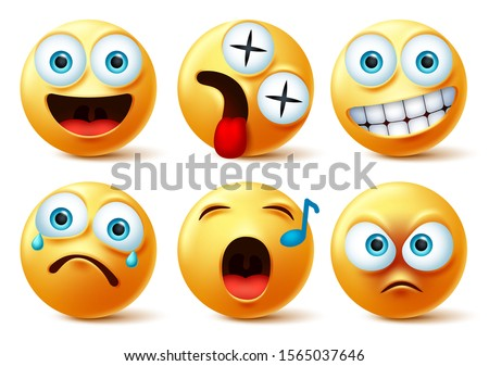 Emoji face vector set. Emojis or emoticon cute faces with happy, dizzy, singing, angry, surprise, sad and crying facial expression isolated in white background. Vector illustration.