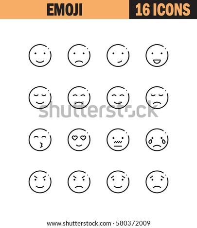 Emoji flat icon set. Collection of high quality outline symbols for web design, mobile app. Emoji vector thin line icons or logo.