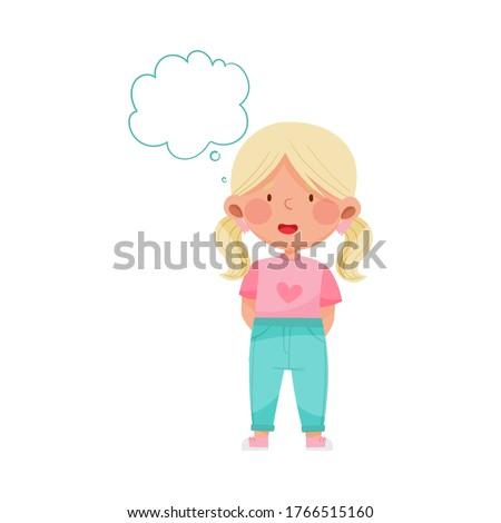 Emoji Girl with Ponytails Feeling Absent Mindedness Vector Illustration Stock photo ©