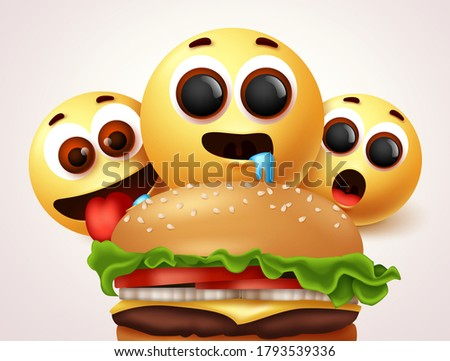 Emoji hungry of burger character vector design. Emoji of starving and hungry facial expressions for delicious and yummy hamburger. Vector illustration   Stock photo ©