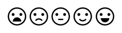 Emoji icon set of satisfaction level. Simple feedback in form of emotions in flat style. Customer feedback. Range to assess the emotions Excellent, good, normal, bad, awful symbols Vector illustration