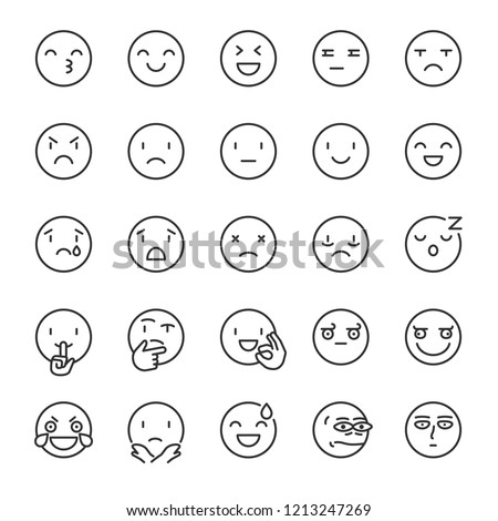 emoji  icon set smile  linear