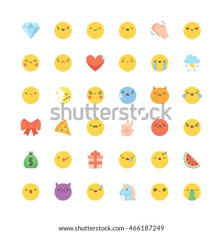 Emoji icon vector set. Flat cute korean style isolated emoticons and symbols.
