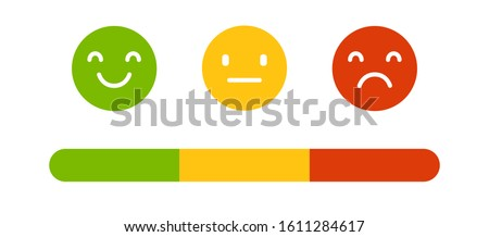 Emoji icons, emoticons for rate of satisfaction level. Emoji rating system.  Smiling face icon collection, bad, normal and good opinion. Negative and positive feedback. ストックフォト ©