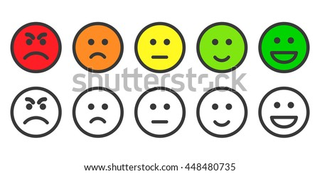 Emoji icons, emoticons for rate of satisfaction level. Five grade smileys for using in surveys. Colored and outline icons. Isolated vector illustration on white background