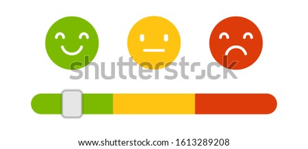 Emoji icons, emoticons for rate of satisfaction level. Smiling face icon collection, bad, normal and good opinion. Negative and positive feedback. ストックフォト ©