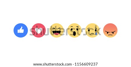 Stock Photo Emoji icons. Funny faces with different emotions. Isolated. Vector illustration.