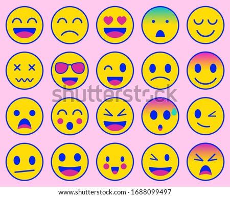 Emoji icons set. Emoticon for messenger, social media, web. Flat design. Vector illustration