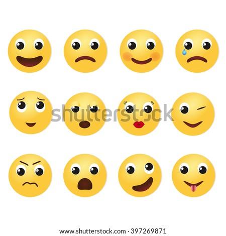 Emoji icons set illustration.