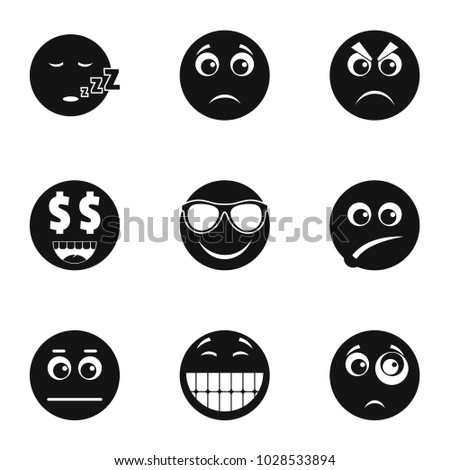 Emoji icons set. Simple set of 9 emoji vector icons for web isolated on white background