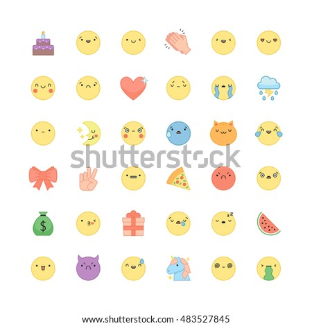 emoji outline icon vector set