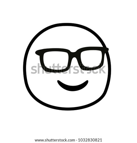 emoji outline with sunglasses. Isolated Vector Illustration.