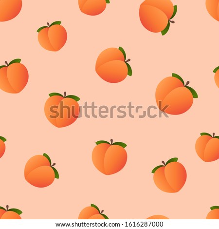 Emoji Peach pattern. Fruit wallpaper. Vector
