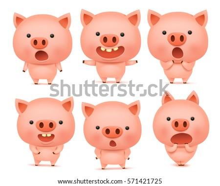 emoji pig character icon set