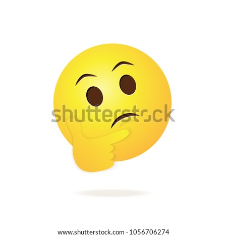Emoji pondering face isolated on white background. Emoji face for web site, app, ui and t shirt. Vector illustration, eps 10