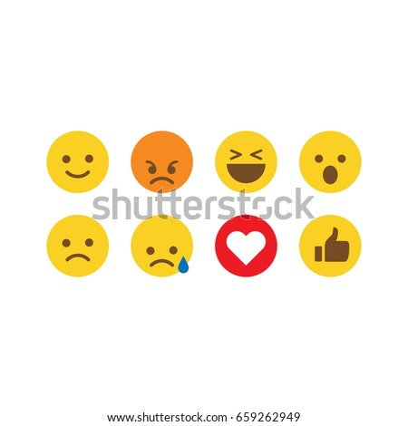 Emoji reactions. Flat design. Social media emoticons. - Shutterstock ID 659262949