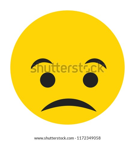 Emoji sad face vector isolated on white background. Emoji sad face for web site, app, ui and t shirt. Vector illustration