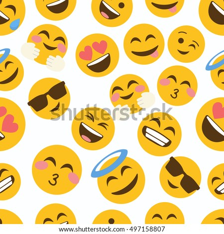 emoji seamless pattern on a white background. illustration