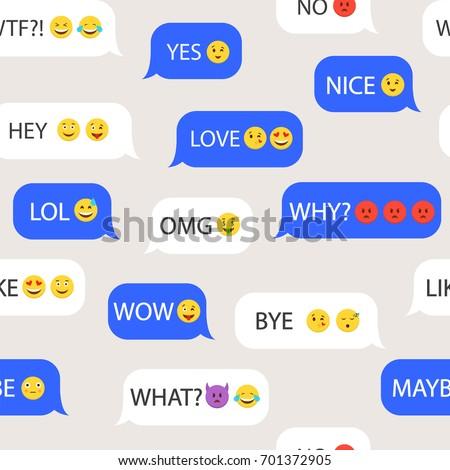 Emoji. Seamless pattern with emoticons. Speech bubbles dialog. Vector illustration.