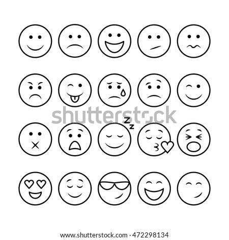 emoji set set of thin line