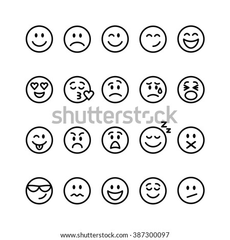 Emoji set. Set of thin line smile emoticons isolated on a white background. Vector illustration Сток-фото ©