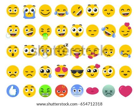 Emoji set smile of isolated on white vector emoticons stickers. Happy face or like icon as symbol of community chat emotions. Flat smile design love Illustration