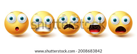 Emoji shocked face vector set. Emojis and emoticon shock, scared and sad collection isolated in white background for graphic elements design. Vector illustration