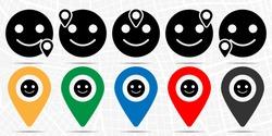 Emoji smile icon in location set. Simple glyph, flat illustration element of web, minimalistic theme icons
