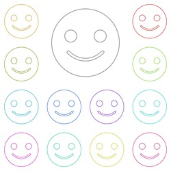 emoji smile multi color icon. Simple thin line, outline vector of web icons for UI and UX, website or mobile application
