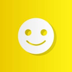 emoji smile white icon with shadow