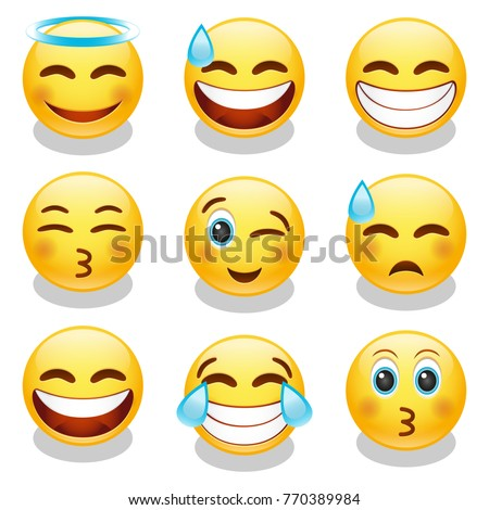 Emoji Smiley Face Vector Design Art Trendy Communication Chat Elements Set 2