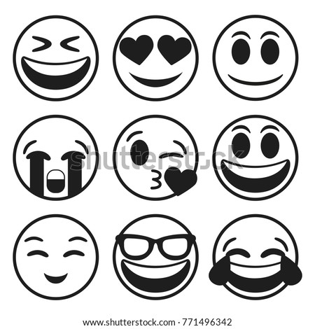 Emoji Smiley Face Vector Line Stroke Design Art Trendy Communication Chat Elements